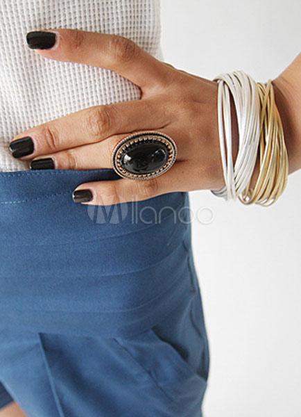 Black Statement Ring Geometric Pattern Metal Ring for Women thumbnail
