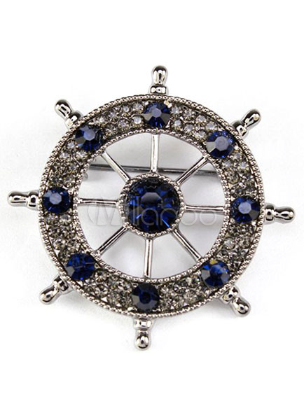 Rudder Brooch Metal Rhinestone Brooch For Women