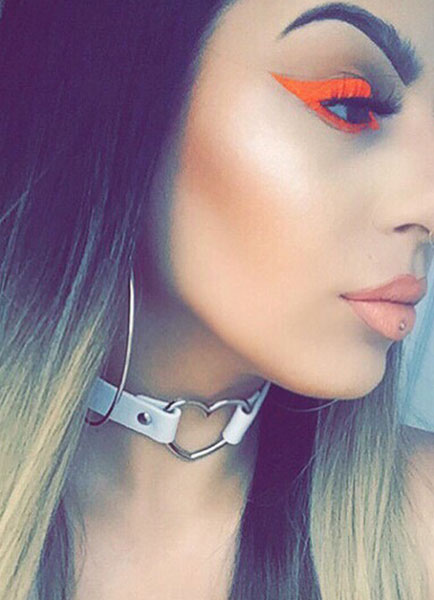 White Choker Necklace Sweetheart Cut Out Stud Leather Women Choker