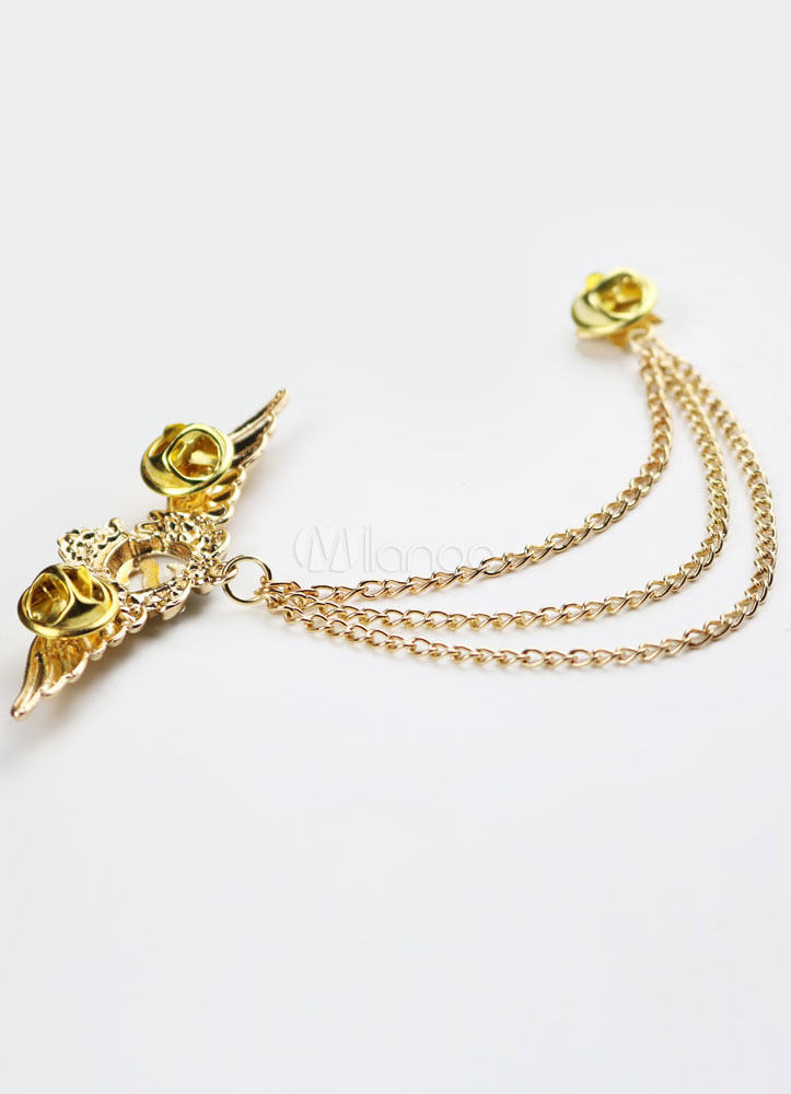 Gold Chain Brooch Metal Rhinestone Brooch For Women