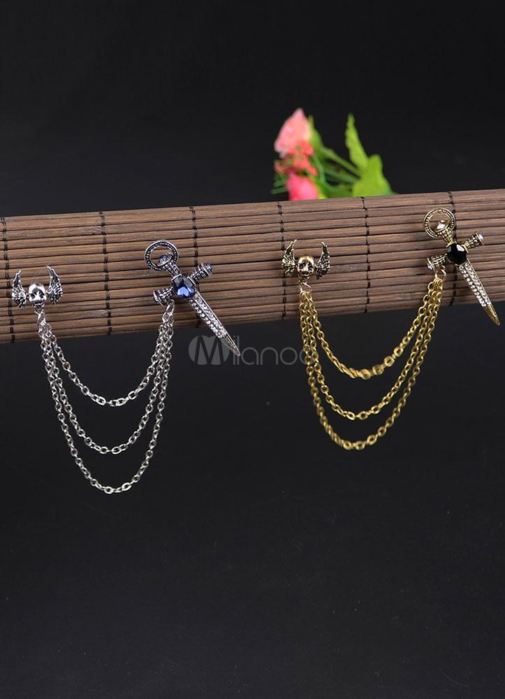 Chain Cross Brooch Metal Rhinestone Brooch For Women