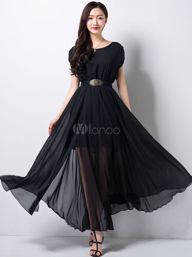 Chiffon Long Prom Dress With Semi-sheer Layered Desigh (Women\\'s Clothing Maxi Dresses) photo