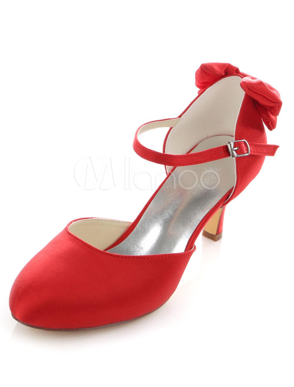 roten braut pumps bogen b gel satin hochzeit heels f r. Black Bedroom Furniture Sets. Home Design Ideas