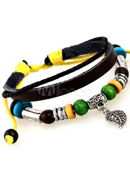 multicolor perlen armband schicken kunstleder armband f r m nner. Black Bedroom Furniture Sets. Home Design Ideas