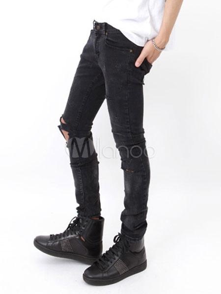 schwarze distressed gebrochen jeans baumwoll skinny jeans. Black Bedroom Furniture Sets. Home Design Ideas