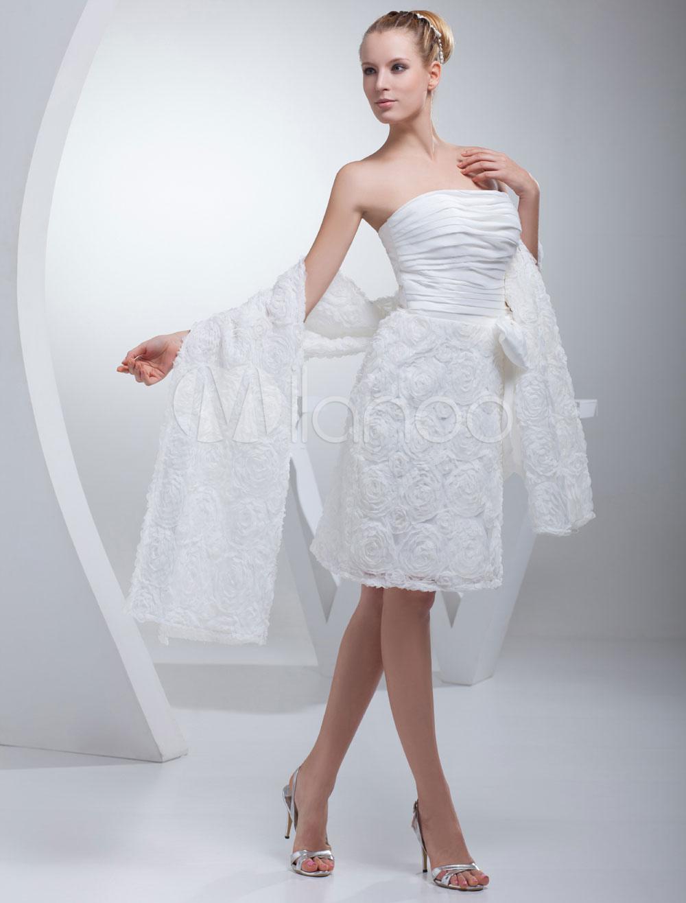 Reception Wedding Dress Strapless Pleated Sash Bow Lace Flower Short Length Sheath Bridal Dress (Cheap Wedding Dress) photo