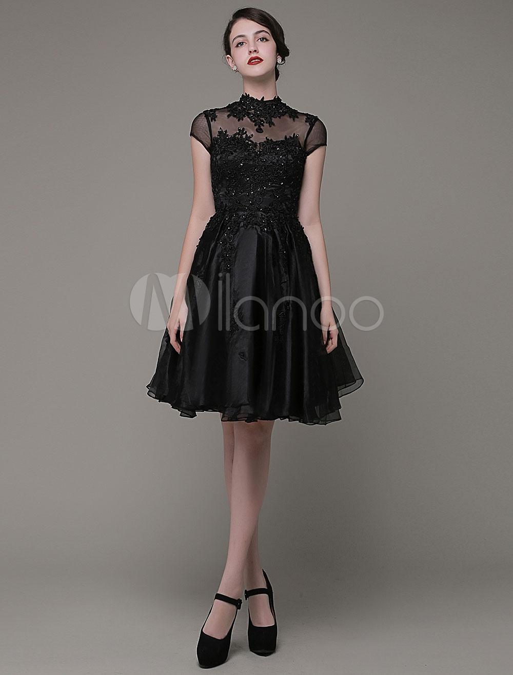 A-Line Prom Dress High Neckline A-Line Lace Applique Beading Knee-Length Homecoming Dress Milanoo