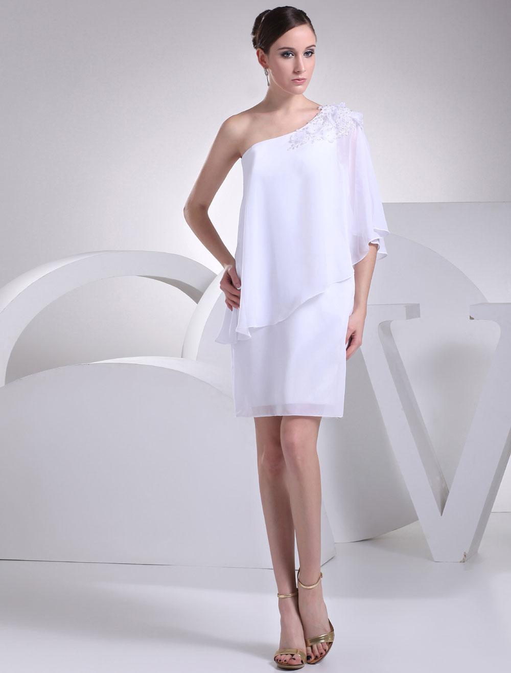 White Bridesmaid Dress One-Shoulder Applique Beading Flower Sheath Knee-Length Wedding Party Dress (Bridesmaid Dresses) photo