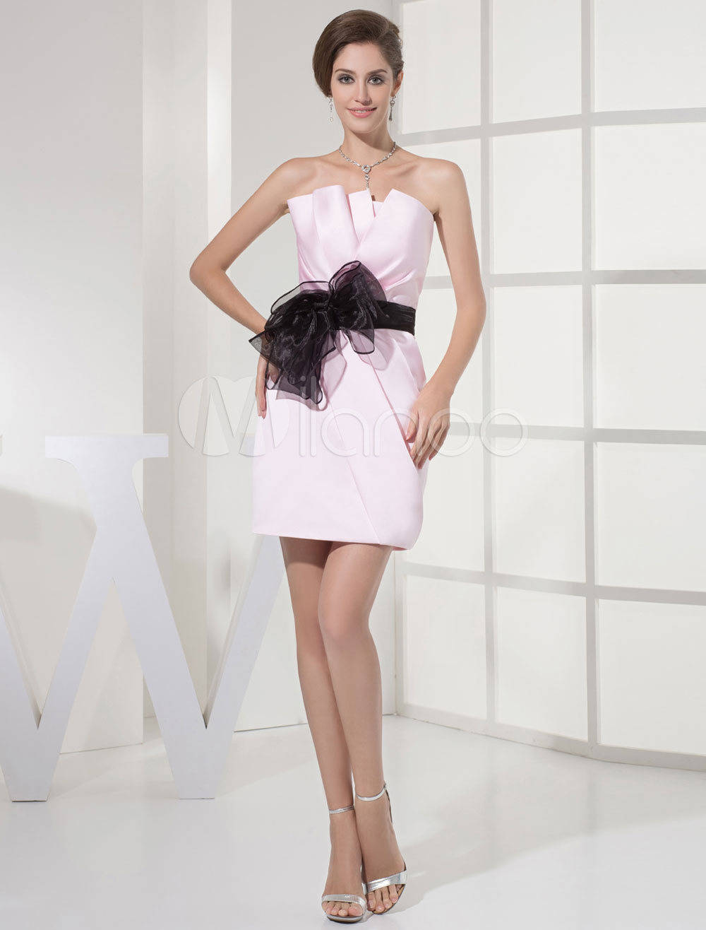 Short Prom Dress Strapless Pleated Sash Bow Sheath Cocktail Dress (Wedding Cheap Party Dress) photo