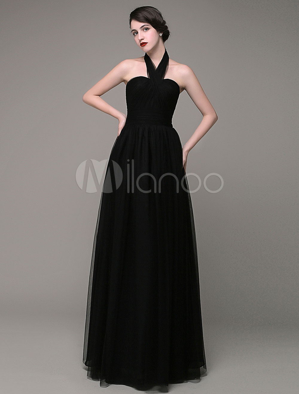 Black Evening Dress Halter Neckline A-line Tulle Pleated Floor Length Party dress Milanoo