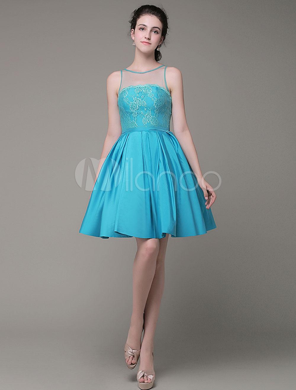 A-Line Prom Dress Lace Jewel Taffeta Pleated Knee-Length Homecoming Dress Milanoo