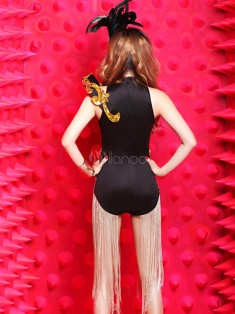 schwarzen jazztanz bodysuit blume fringe synthetische kost m f r frauen. Black Bedroom Furniture Sets. Home Design Ideas