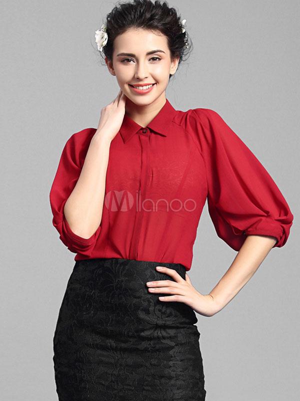roten bl tterteig rmel bluse schicke polyester top f r. Black Bedroom Furniture Sets. Home Design Ideas