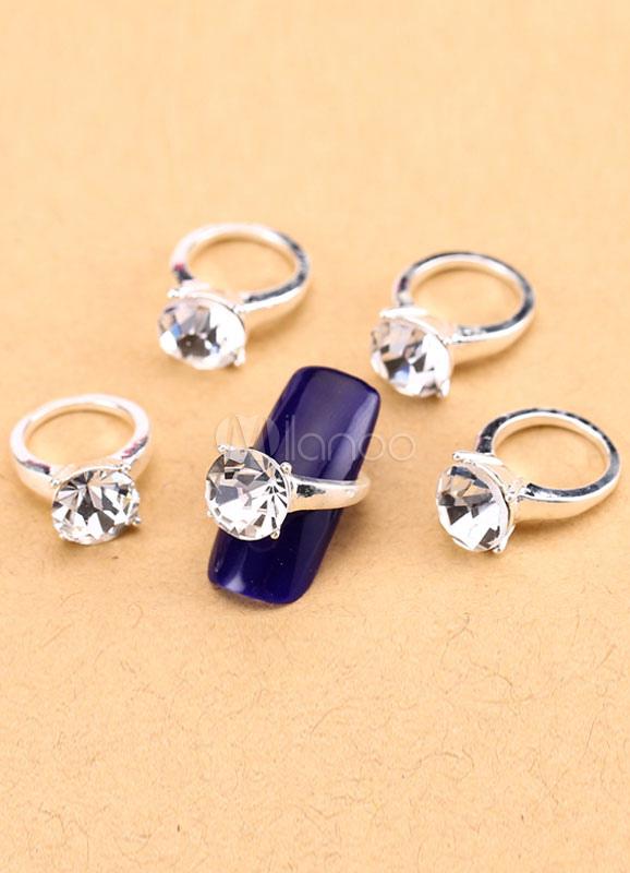 Silver Nail Art Rhinestone Nail Rings for Women