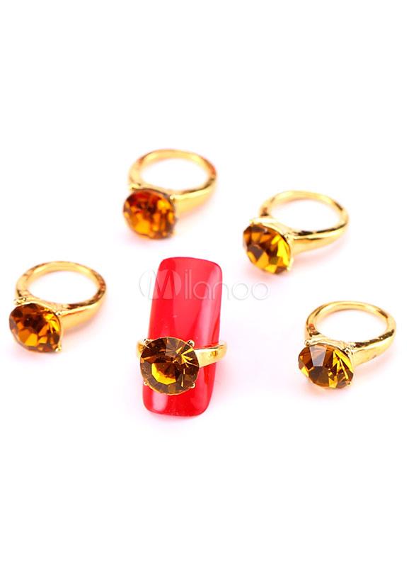 Gold Nail Art Rhinestone Nail Rings for Women
