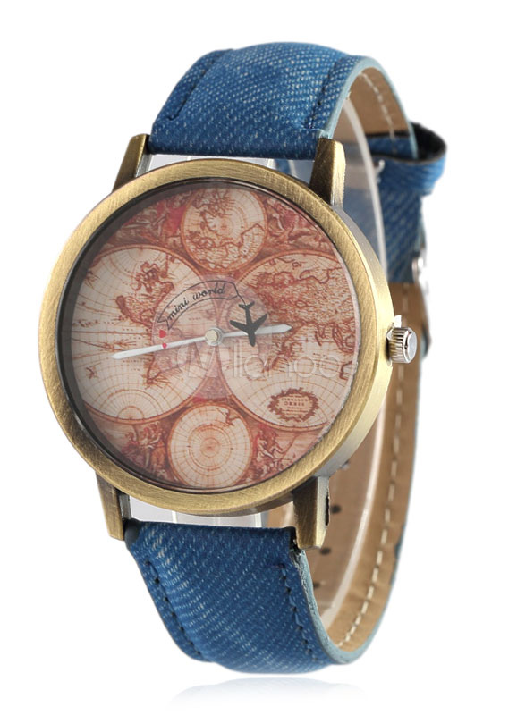 Denim Strap Watch Chic Print Dial Plate Women's Watch thumbnail
