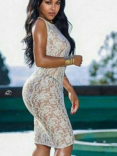 White Straps Midi Dress Lace Cotton Blend Bodycon Dress (Women\\'s Clothing Bodycon Dresses) photo
