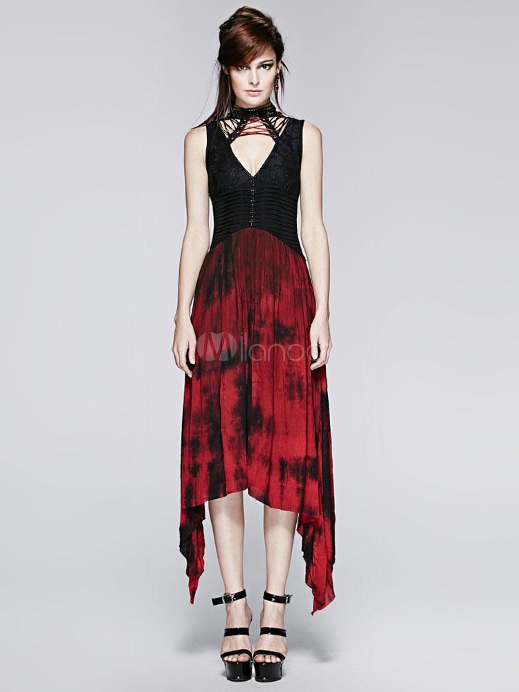 Red Print Gothic Asymmetric Maxi Dress