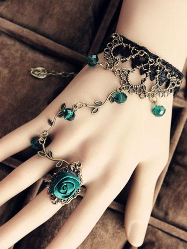 Vintage Lace Lolita Bracelet with Green Rose Ring