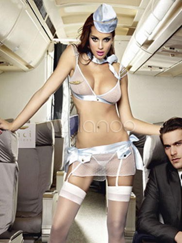 5 Pieces Airline stewardess Costume With Tulle Bow