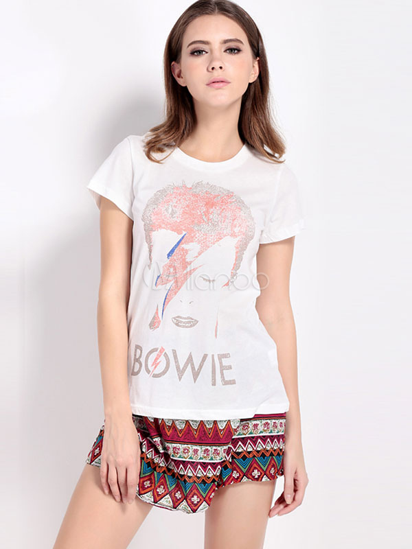 White Graphic Printed Jewel Neck Fashion Tee Shirt For Women thumbnail