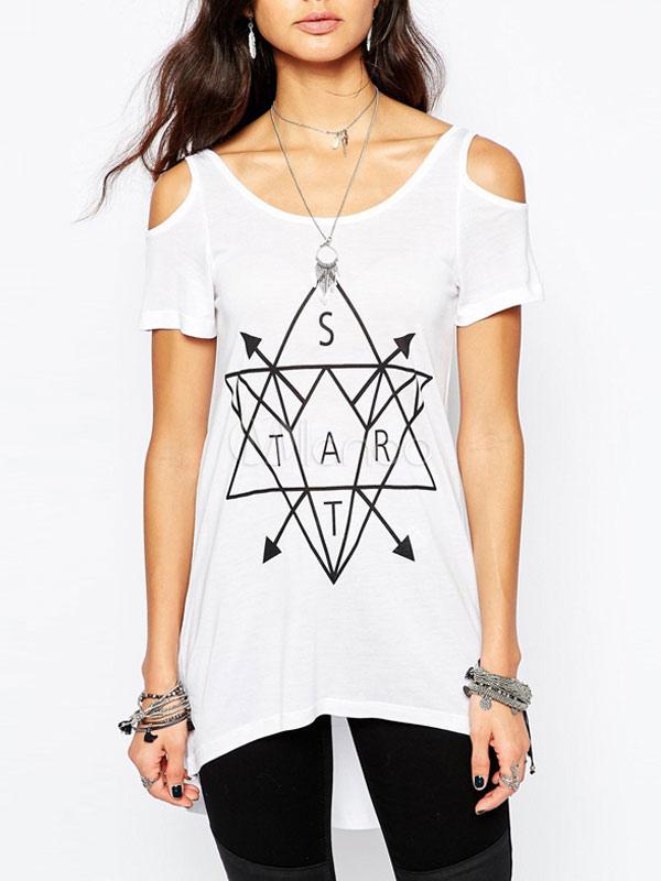 geometrische juwel hals moderne t shirt f r damen. Black Bedroom Furniture Sets. Home Design Ideas