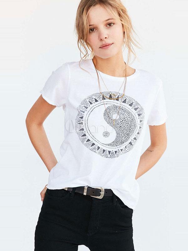 polyester logo geometrische juwel hals damen t shirt. Black Bedroom Furniture Sets. Home Design Ideas