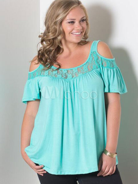 Cold Shoulder Short Sleeves Lace Jewel Neck Women's Tee Shirt thumbnail