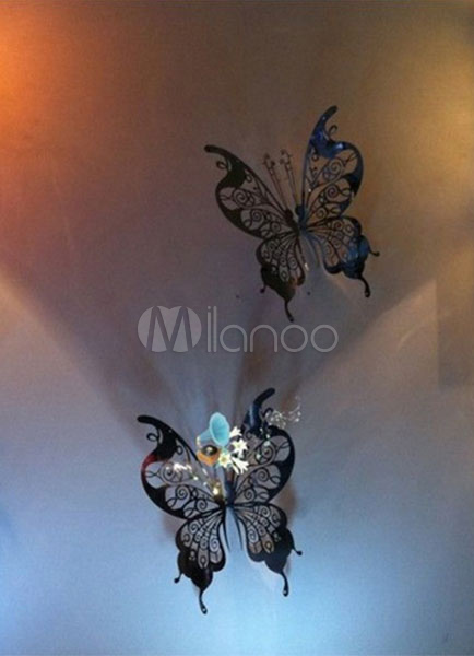 Butterfly Wall Decals Silver 3D Cut Out Wedding Favor 10 Sets