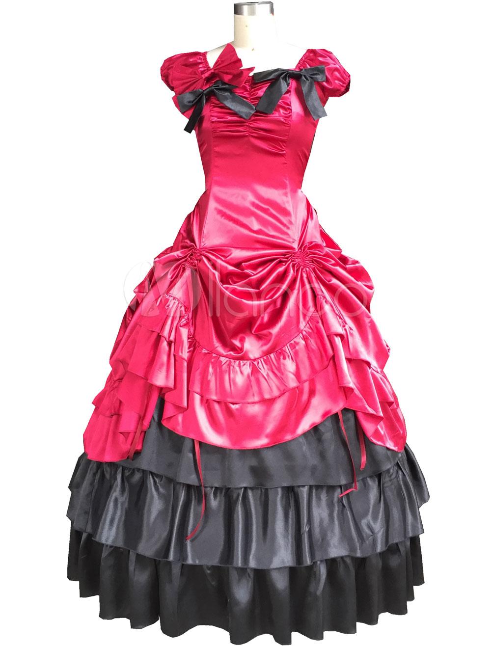 Elegant Red Satin Lolita One-piece Dress Sleeveless Ruffles Waist Belt Lace Bow