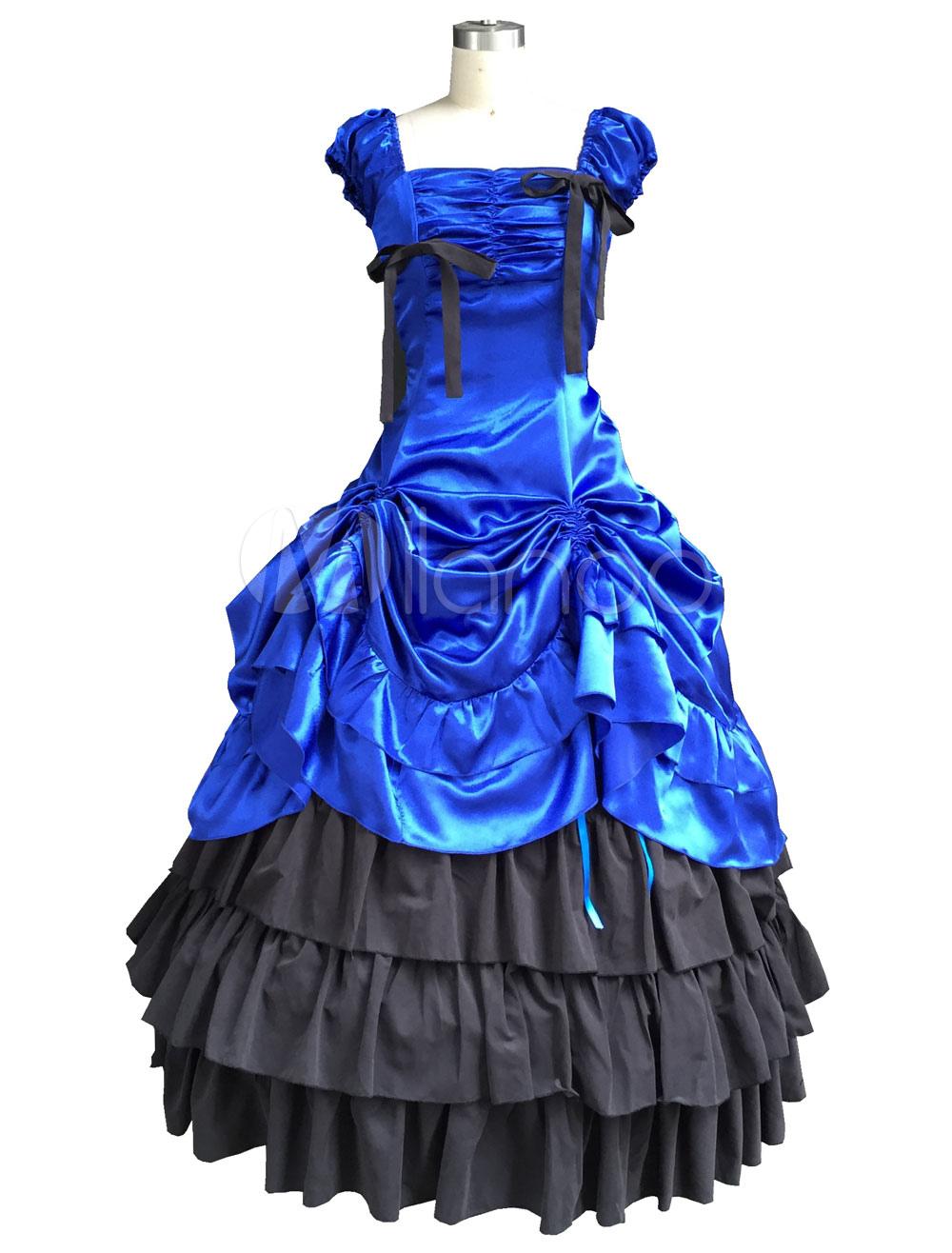 Elegant Peacock Blue Satin Lolita One-piece Dress Sleeveless Ruffles Waist Belt Lace Bow