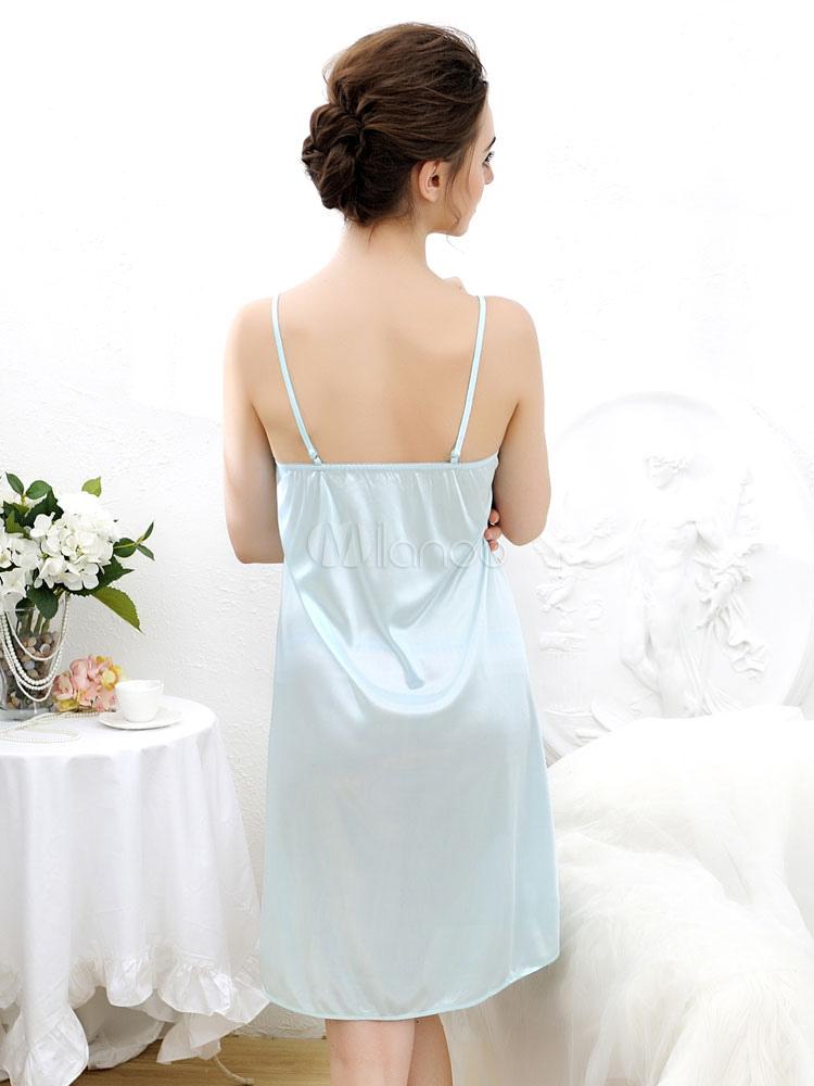 seiden hnliche spitzen schneiden sie leichte blaue frauen sexy kleid. Black Bedroom Furniture Sets. Home Design Ideas