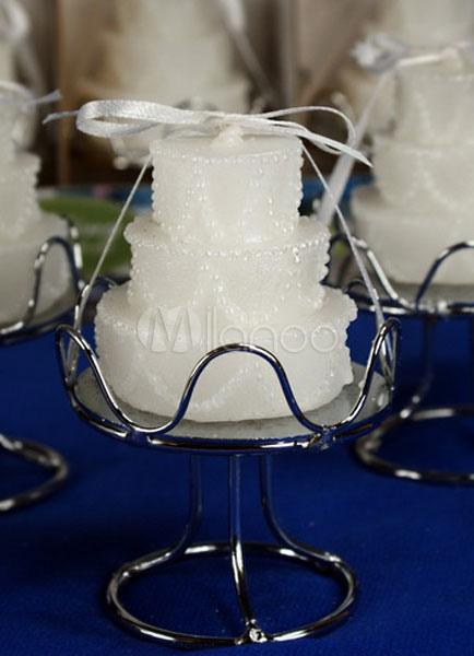 White Wedding Favors Cake Shape Candle Favor