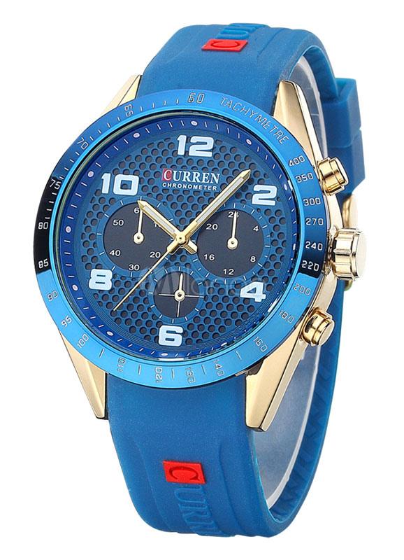 Men's Watch Rubber Multiple Time Zone Sport Watch