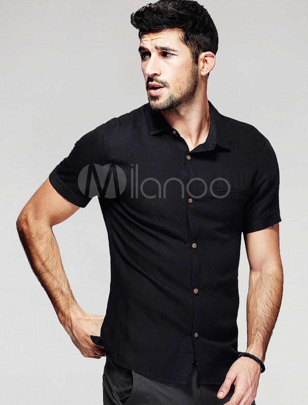 schwarze casual slim shirt f r m nner mit kurzen rmeln. Black Bedroom Furniture Sets. Home Design Ideas