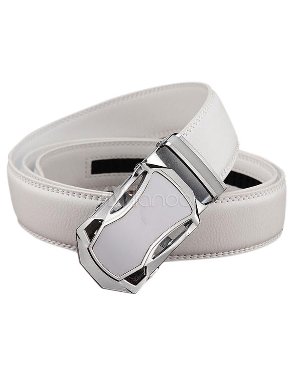Men's White/Black Business Belt Automatic Buckle Waistband thumbnail