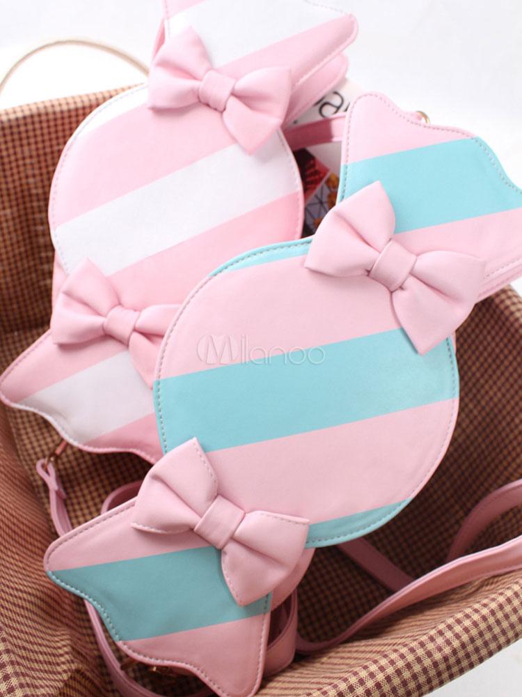 Sweet Pink Blue Stripe Lolita Messenger Bag Candy Shape Bows Decor Pink White Stripe