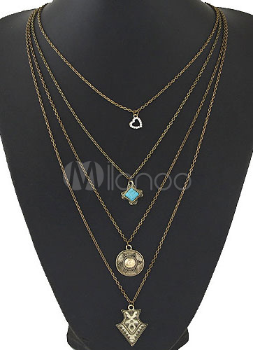 Vintage Layered Geometric Necklace