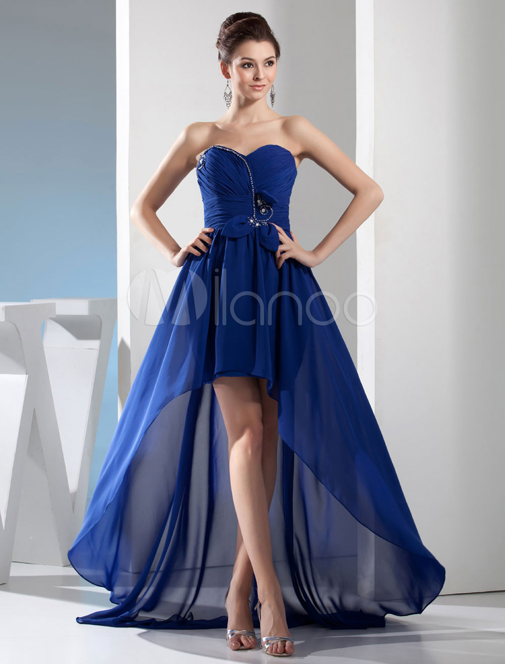 High-Low Homecoming Dress Strapless Sweetheart Beading Court Train Chiffon Blue Prom Dress Milanoo