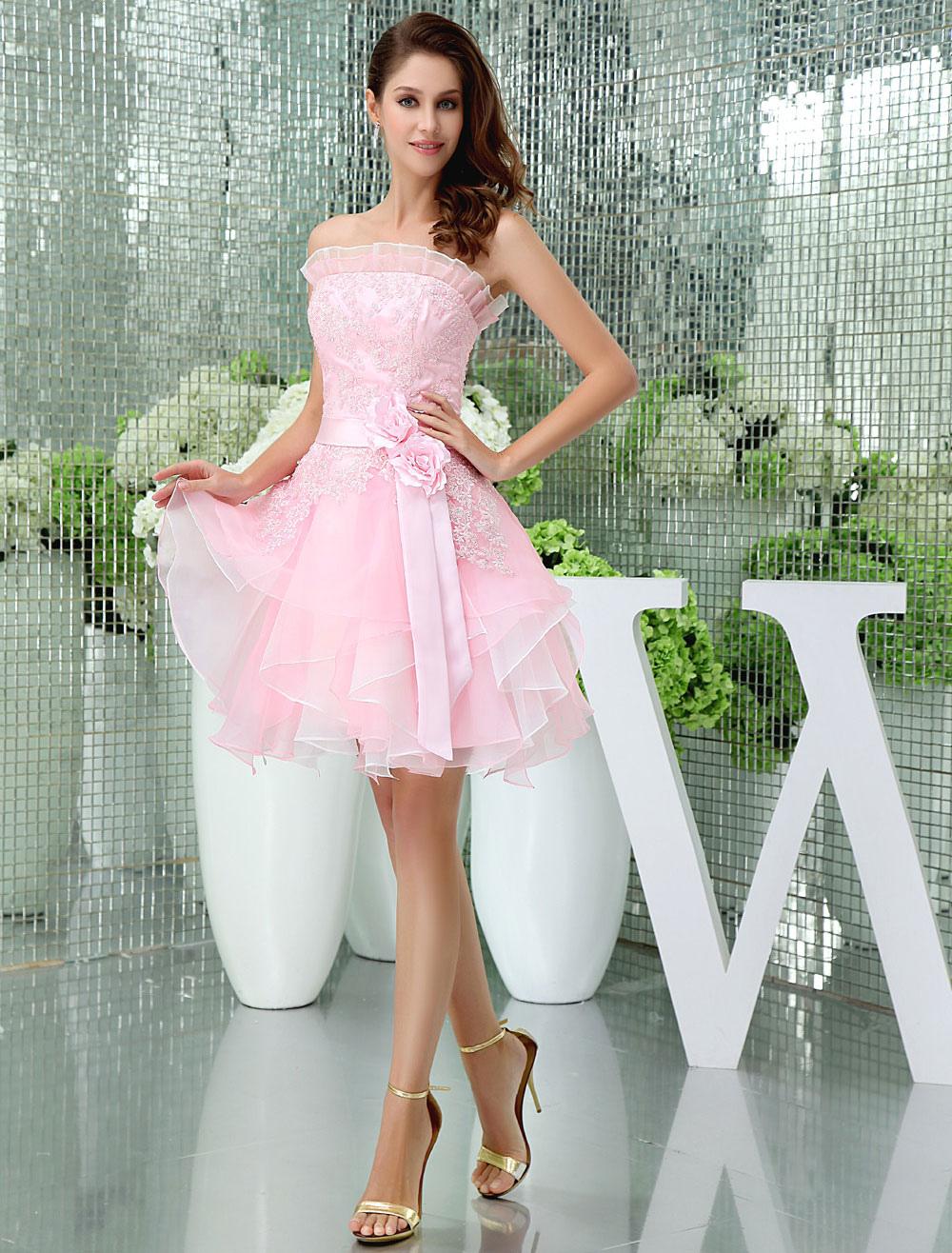 Strapless Homecoming Dress Ruffles Neckline Lace Beading Organza Cocktail Dress Short Prom Dress Milanoo