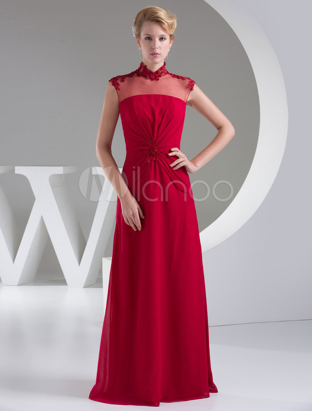 Front Knot Mother of the Bride Dress Stand Collar Lace Sheath Floor-Length Chiffon Evening Dress Milanoo (Wedding) photo