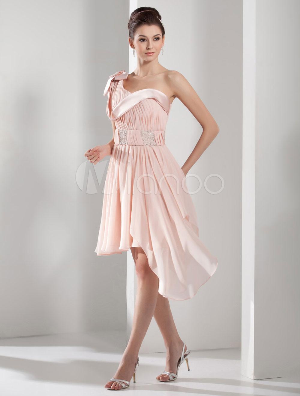 One-Shoulder Homecoming Dress Pleated Beading A-Line Asymmetric Chiffon Cocktail Dress Mini Prom Dress Milanoo