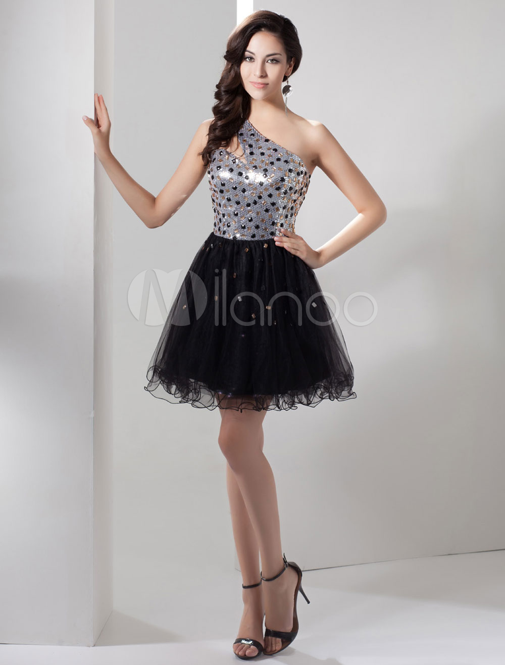 Sequin Homecoming Dress One-Shoulder Beading A-Line Tulle Short Prom Dress Keyhole Backless Cocktail Dress Milanoo