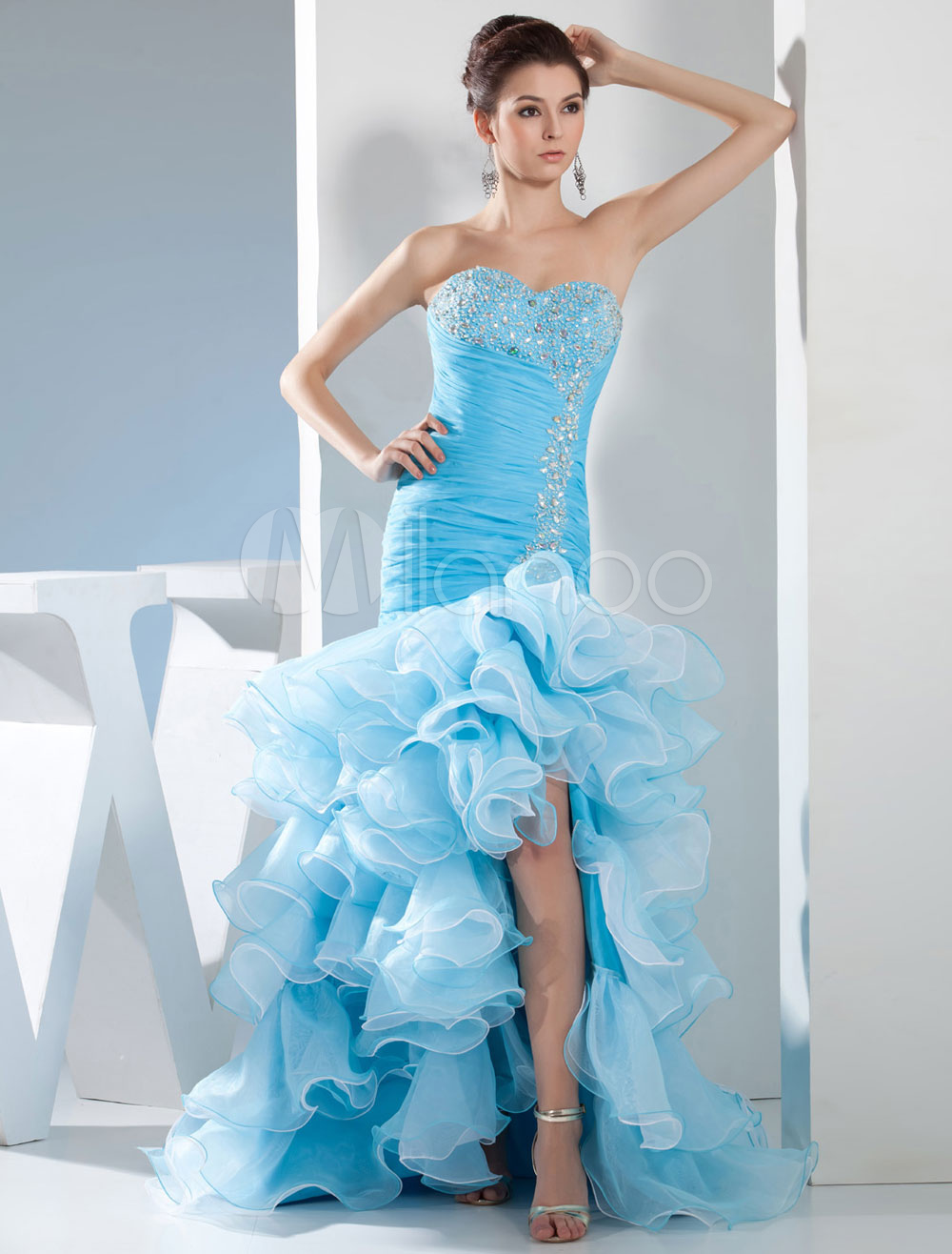 High-Low Homecoming Dress Strapless Sweetheart Pleats Beading Organza Ruffles Court Train Mermaid Prom Dress Milanoo