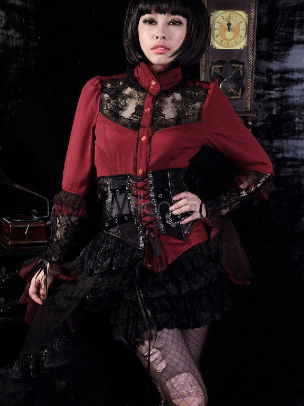 Gothic Corset Skirt Steampunk Leather Girdle Embroidered Piece Dress