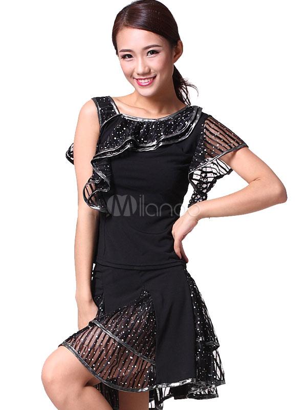 tanz kleid damen pailletten tanz kost m kleid mit r schen. Black Bedroom Furniture Sets. Home Design Ideas