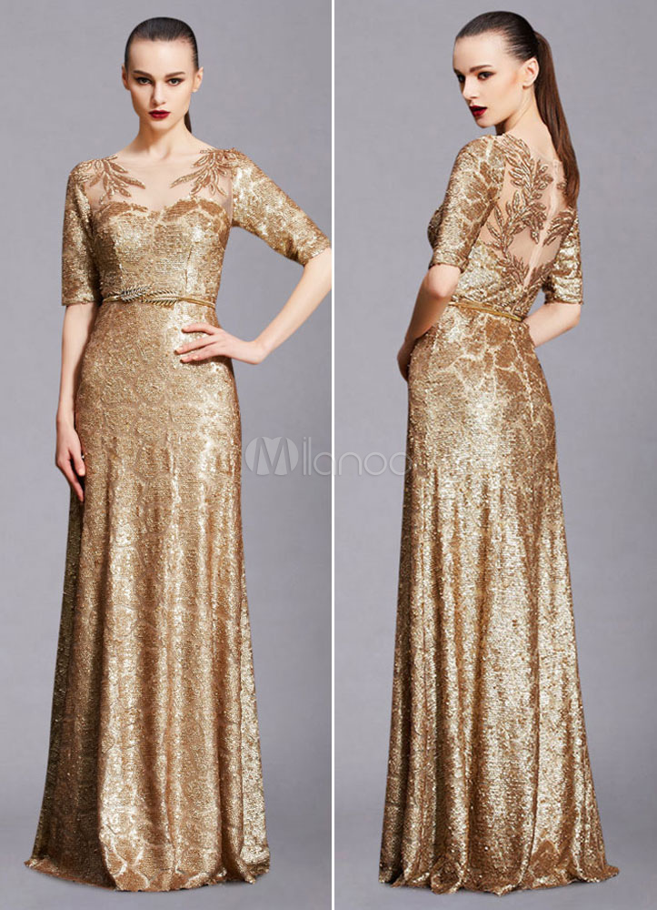 Maxi Evening Dress Unique Gold Lace Illusion Half-sleeve A-line Sequin Floor-length Wedding Guest Dresses (Including Sash)