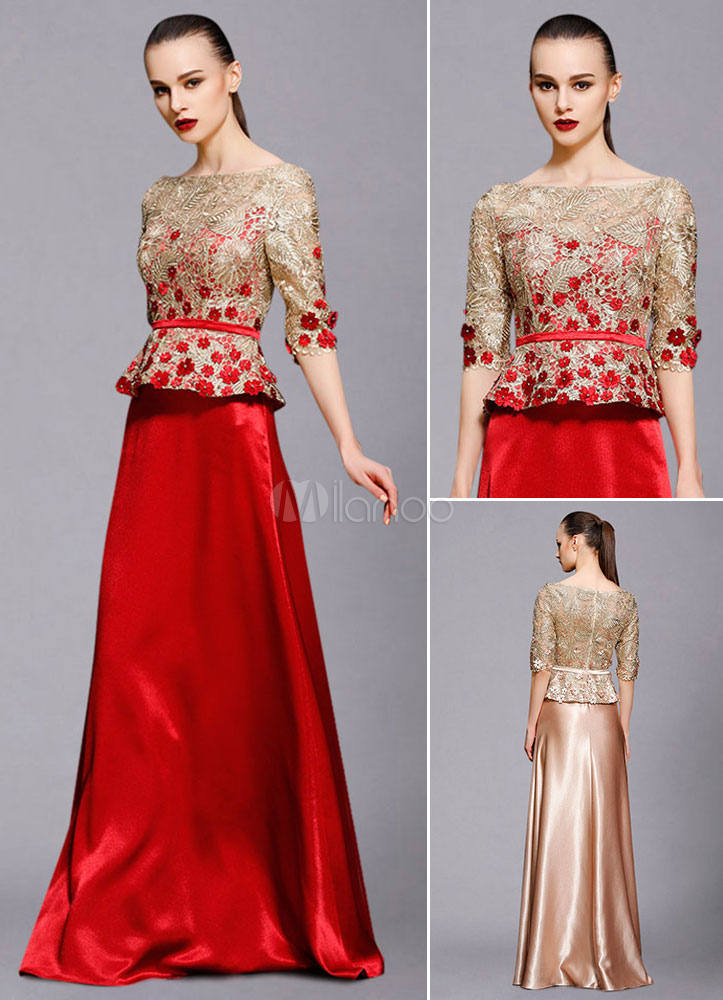 Maxi Evening Dress Illusion Half-Sleeve A-Line Lace Applique Beading Floor-Length Wedding Guest Dresses