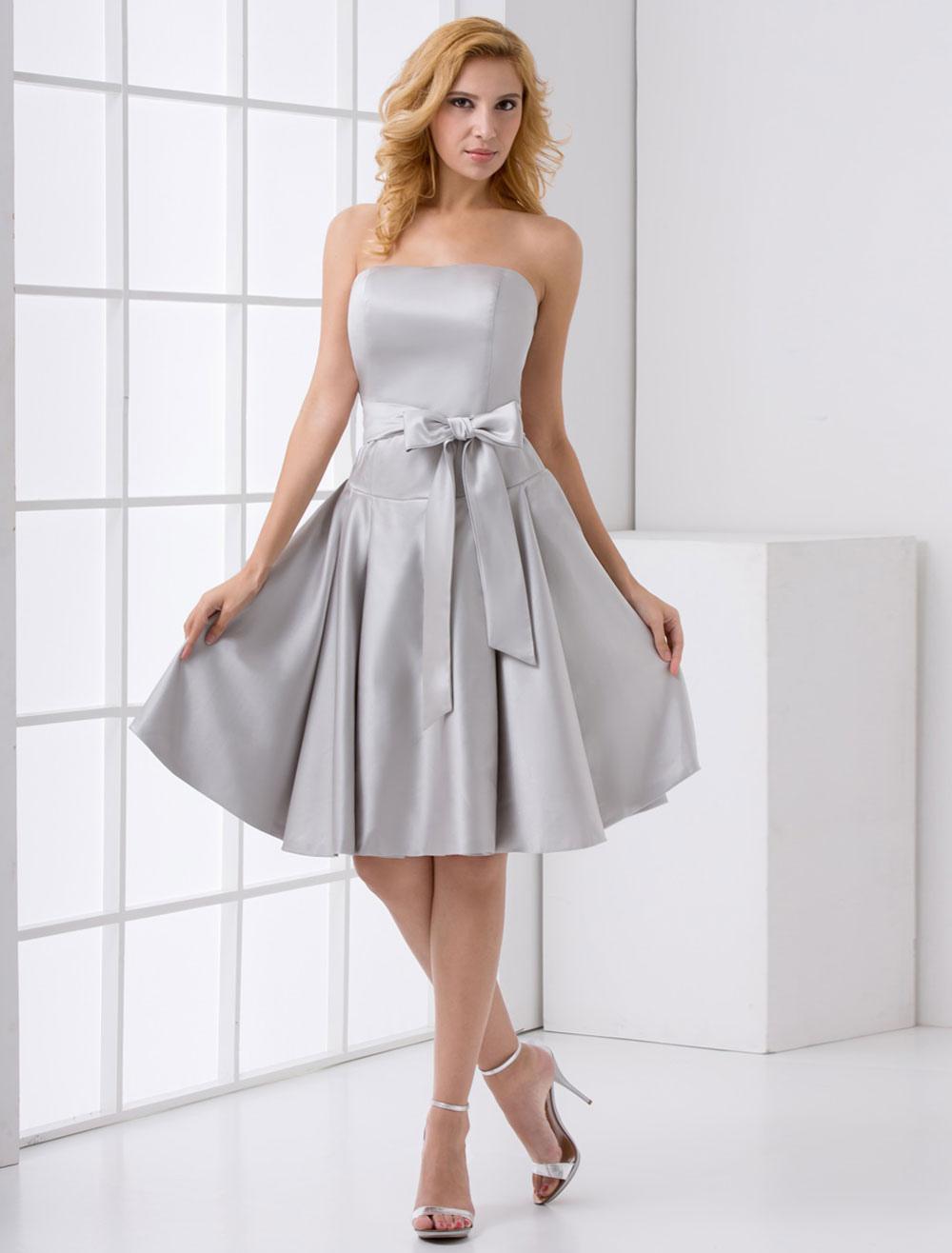 Silver Bridesmaid Dress Short Grey Satin Cocktail Dress With Bow Sash (Wedding Bridesmaid Dresses) photo