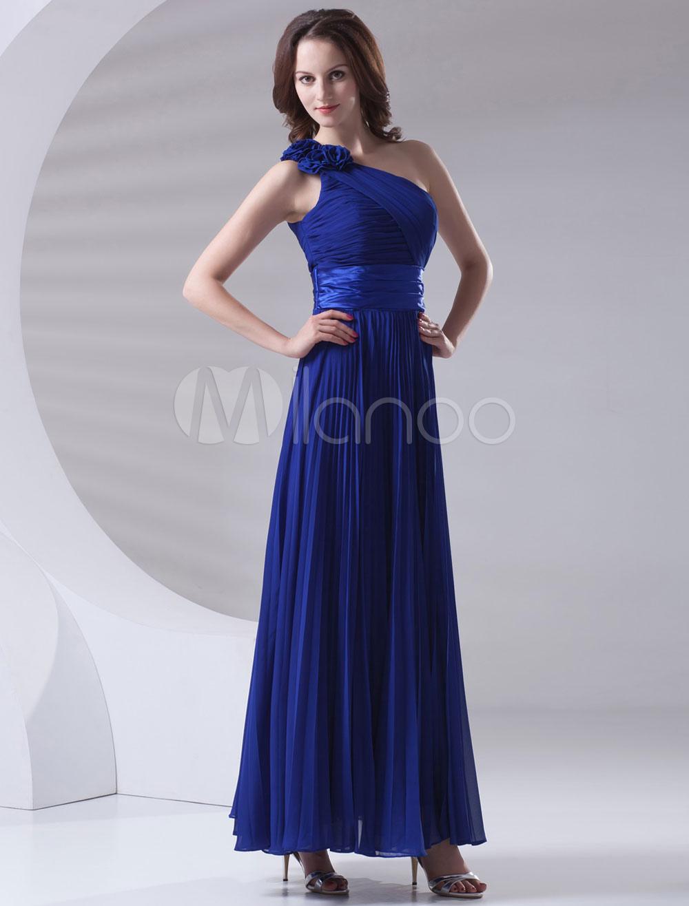 Maxi Bridesmaid Dress Blue One-shoulder Ankle-length Pleated Chiffon Wedding Party Dress (Bridesmaid Dresses) photo